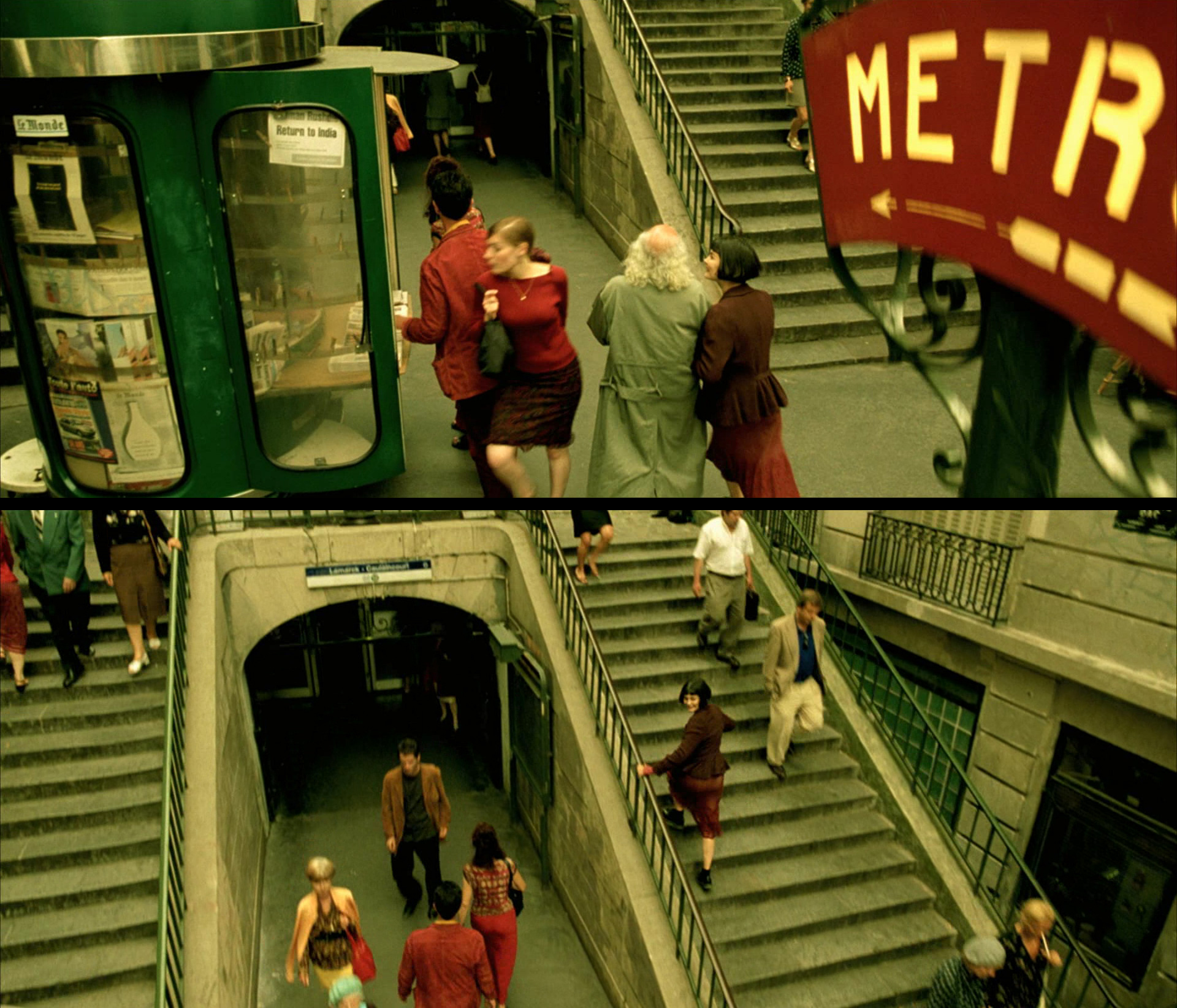 Amelie Poulain film locations Montmartre Paris France travel screenshots Lamarck Caulaincourt metro station