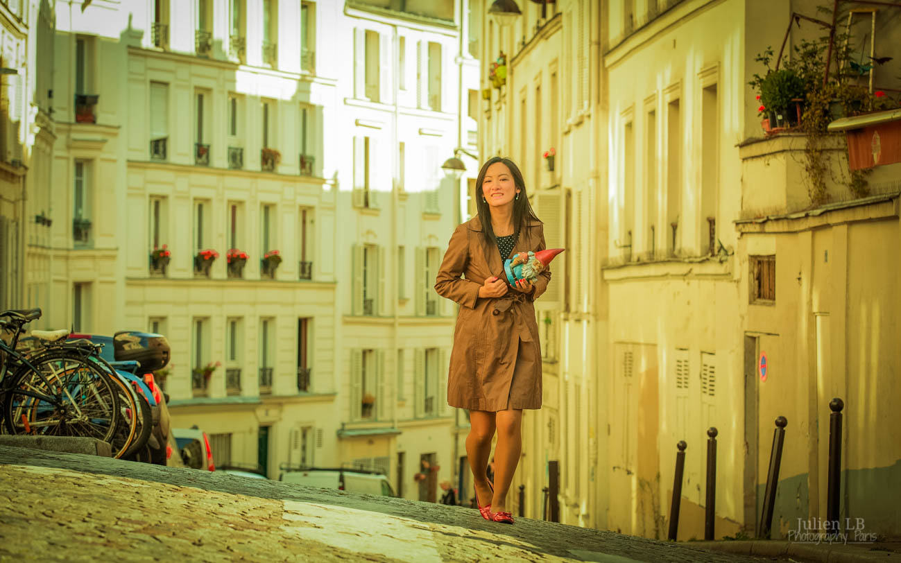 Amelie Poulain film locations Montmartre Paris France Amelie inspired photoshoot photos stealing gnome