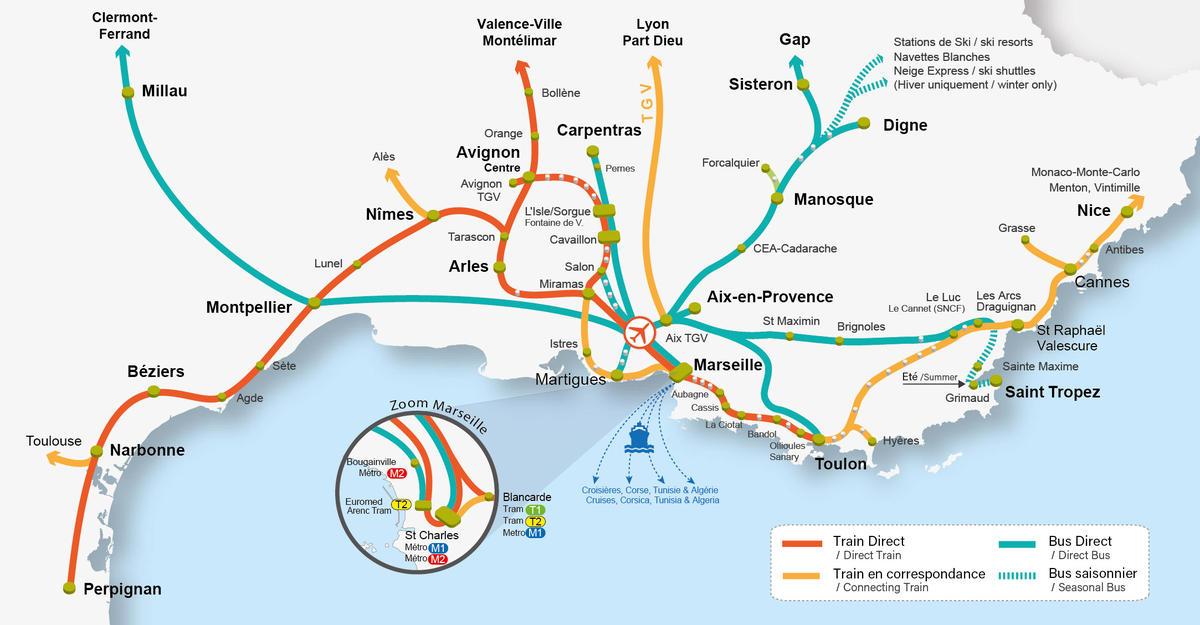 Marseille map network carte reseau bus trains