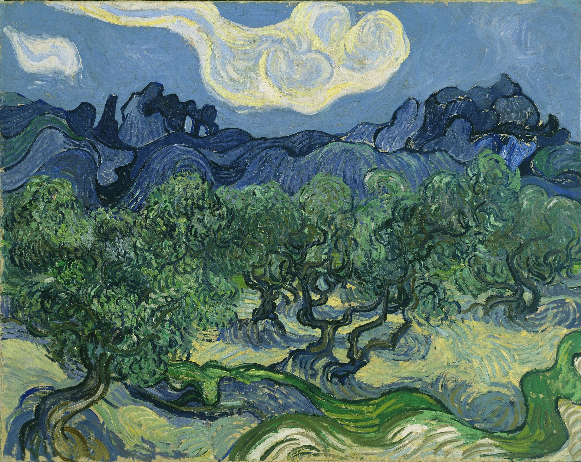 Van Gogh - Montagne des Deux Trous Olive Trees in a Mountainous Landscape (with the Alpilles in the Background) 1889