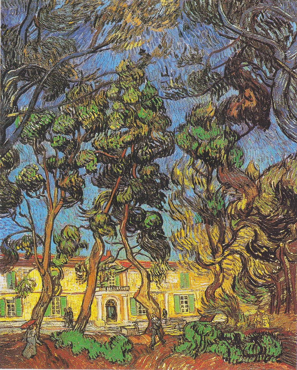 Vincent Van Gogh Trees in front of garden at Saint Paul Mausole Asylum Saint Remy de Provence France