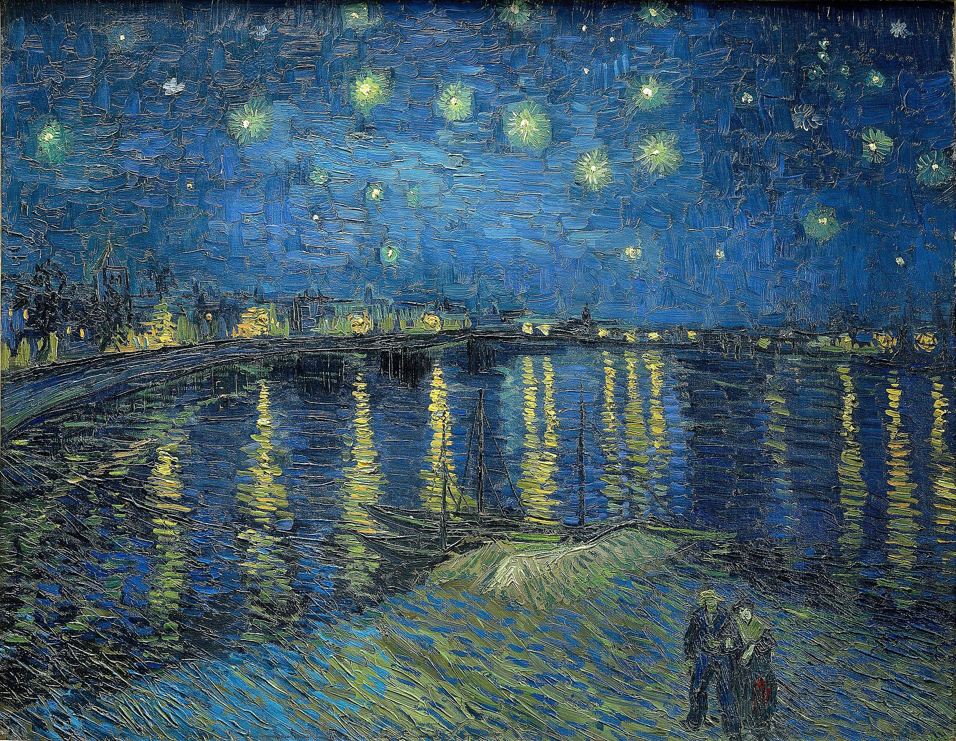 Vincent Van Gogh Starry Night over the Rhone Arles France painting 1888