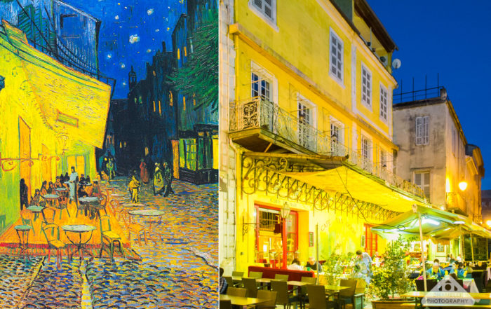 Vincent Van Gogh real life painting Cafe Terrace at night - Café Terrasse sur la place du Forum - Arles France - Chamelle photography