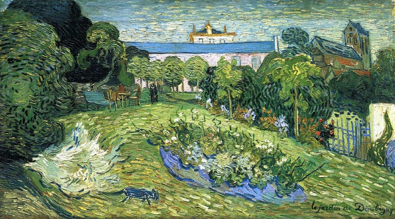 Van Gogh Jardin de Daubigny's Garden black cat 1890 Auvers sur Oise